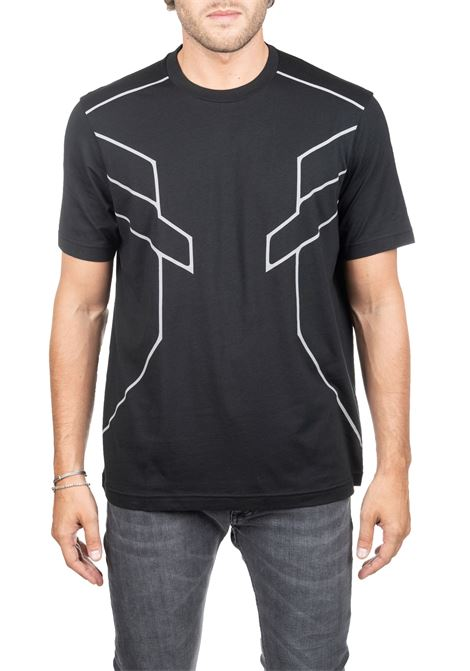 T-SHIRT NERA CON STAMPA FRONTALE BLACKBARRETT | T-shirt | PXJT2851854