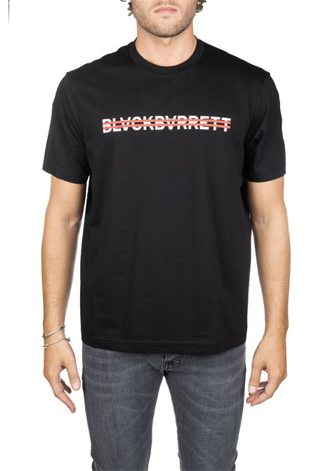 BLACK COTTON T-SHIRT WITH FRONT LOGO PRINT BLACKBARRETT | T-shirt | PXJT3811133