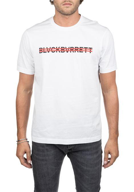 WHITE COTTON T-SHIRT WITH FRONT LOGO PRINT BLACKBARRETT | T-shirt | PXJT3811141