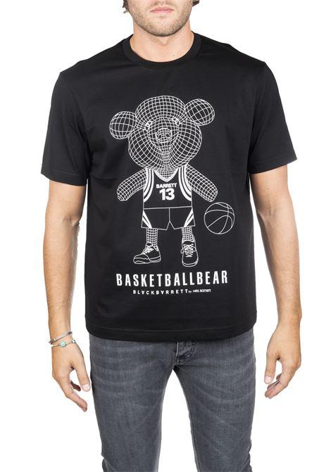 BLACK COTTON T-SHIRT WITH BASKET FRONT LOGO PRINT BLACKBARRETT | T-shirt | PXJT384524