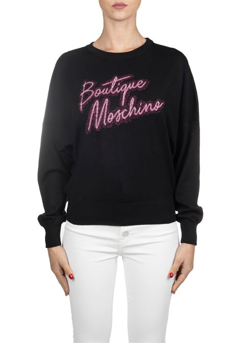 BLACK WOOL SWEATER WITH EMBROIDERY LUREX LOGO BOUTIQUE MOSCHINO | Sweaters | 09025800A0555