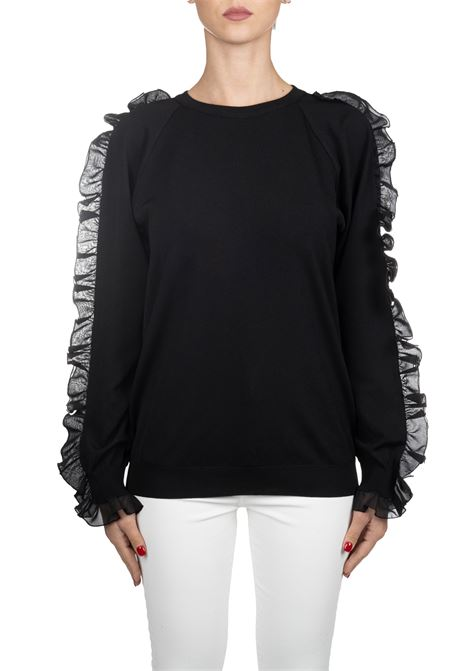 BLACK VEST WITH RUCHES IN SLEEVES BOUTIQUE MOSCHINO | Sweaters | 09325801A4555