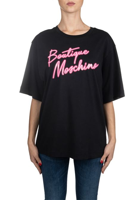 BLACK COTTON T-SHIRT WITH FRONT PINK LOGO PRINT BOUTIQUE MOSCHINO | T-shirt | 12015840A1555