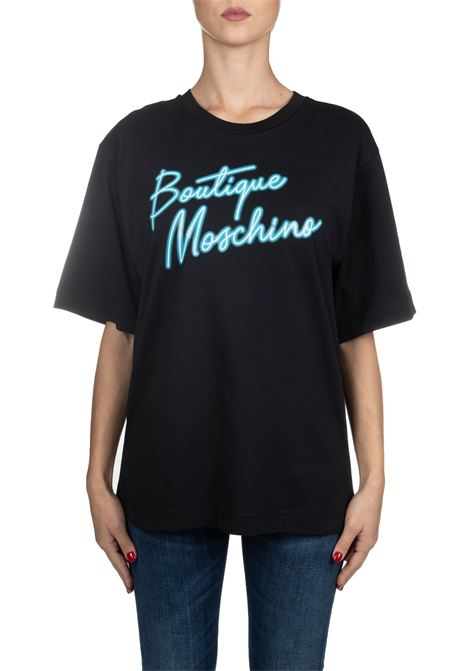 BLACK COTTON T-SHIRT WITH FRONT BLUE LOGO PRINT BOUTIQUE MOSCHINO | T-shirt | 12015840A2555