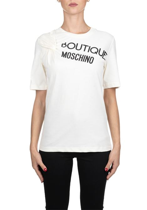 T-SHIRT BIANCA IN COTONE CON STAMPA LOGO FRONTALE BOUTIQUE MOSCHINO | T-shirt | 12025840A3003