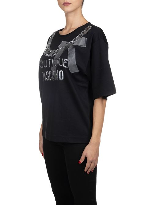 T-SHIRT NERA IN COTONE CON STAMPA LOGO FRONTALE BOUTIQUE MOSCHINO | T-shirt | 120561407555