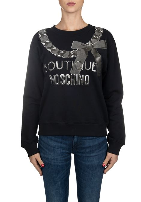 BLACK COTTON SWEATSHIRT WITH FRONT LOGO PRINT BOUTIQUE MOSCHINO | Sweatshirts | 170661253555