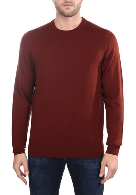 BORDEAUX WOOL SWEATER WITH FRONT LOGO EMBROIDERY CALVIN KLEIN | Sweaters | K10K102727GCQ