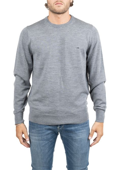 GRAY WOOL SWEATER WITH FRONT LOGO EMBROIDERY CALVIN KLEIN | Sweaters | K10K102727P9V