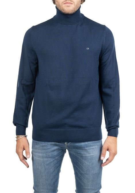 BLUE WOOL JERSEY WITH FRONT LOGO EMBROIDERY CALVIN KLEIN | Sweaters | K10K102751DW4
