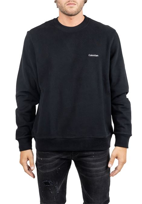 BLACK COTTON SWEATSHIRT WITH FRONT LOGO EMBROIDERY CALVIN KLEIN | Sweatshirts | K10K103088002