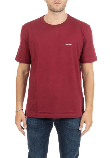 T-SHIRT BORDEAUX  CON MINI LOGO FRONTALE CALVIN KLEIN | T-shirt | K10K103307699