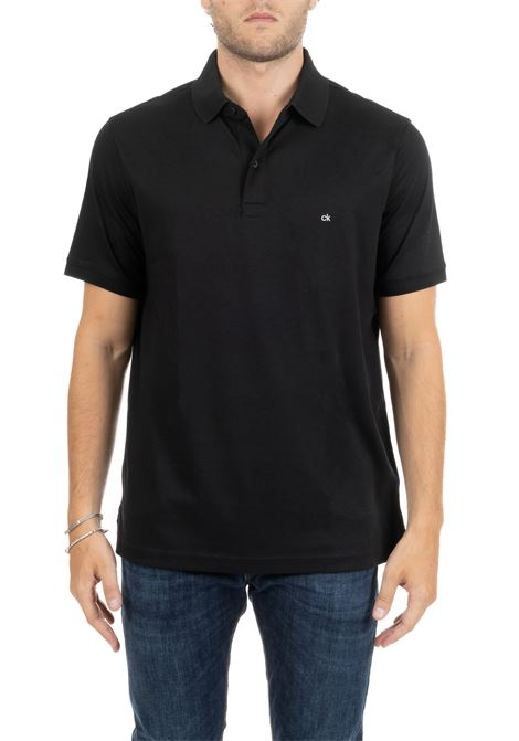 POLO SLIM IN COTONE NERO MINI LOGO CALVIN KLEIN | Polo | K10K103378002
