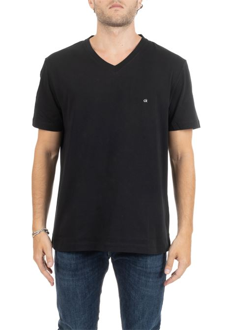 BLACK BASIC T-SHIRT WITH MINI LOGO CALVIN KLEIN | T-shirt | K10K103672002