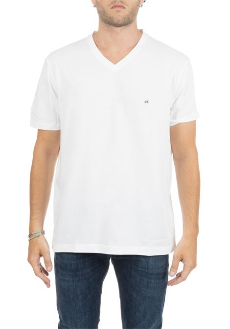 WHITE BASIC T-SHIRT WITH MINI LOGO CALVIN KLEIN | T-shirt | K10K103672117