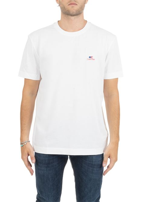 WHITE T-SHIRT WITH VINTAGE EMBROIDERED LOGO CALVIN KLEIN | T-shirt | K10K103959117