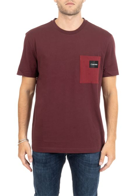 BORDEAUX COTTON T-SHIRT WITH LOGO AND POCKET CALVIN KLEIN | T-shirt | K10K104045601