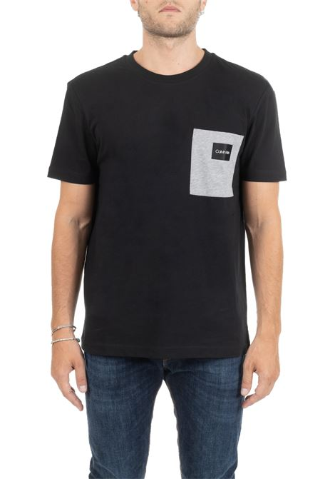 BLACK COTTON T-SHIRT WITH LOGO AND POCKET CALVIN KLEIN | T-shirt | K10K104045BDS