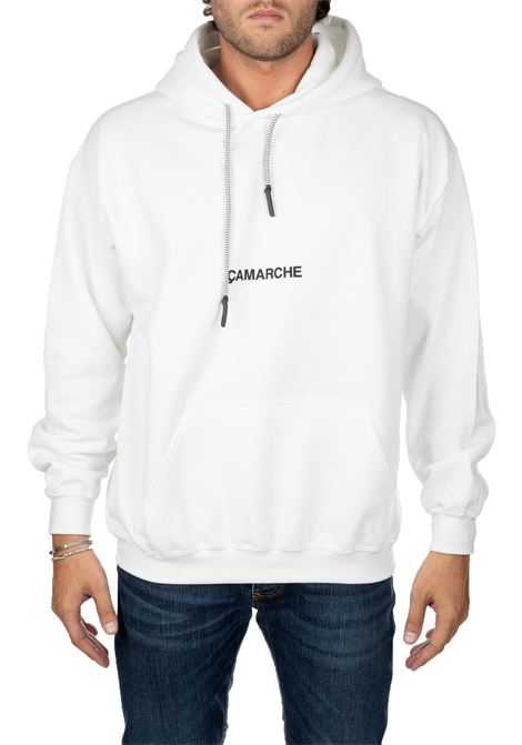 WHITE COTTON SWEATSHIRT WITH EMBROIDERY FRONT BACK LOGO CAMARCHE | Sweatshirts | CC19UCSS03BR1WH01AWHITE