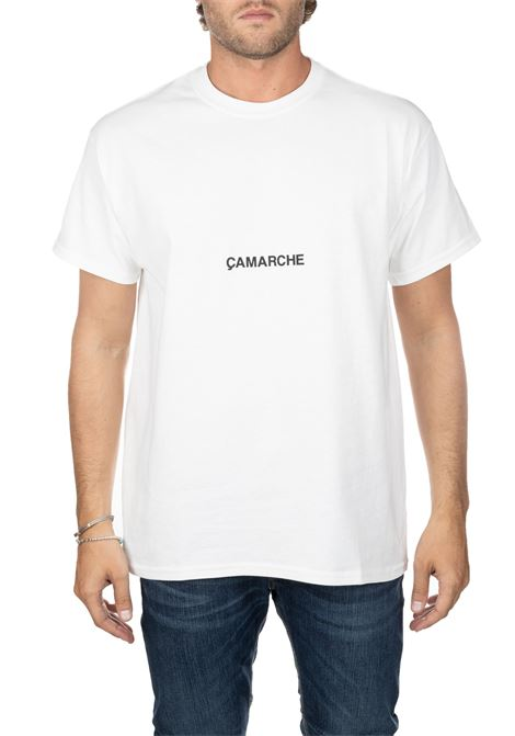 WHITE COTTON T-SHIRT WITH FRONT BACK LOGO PRINT CAMARCHE | T-shirt | CC19UCTS04CO1WH01AWHITE