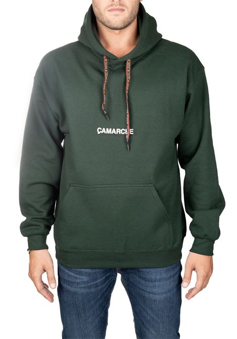 GREEN COTTON SWEATSHIRT WITH EMBROIDERY FRONT BACK LOGO CAMARCHE | Sweatshirts | CW19UCSS03BR1DG04AVERDE