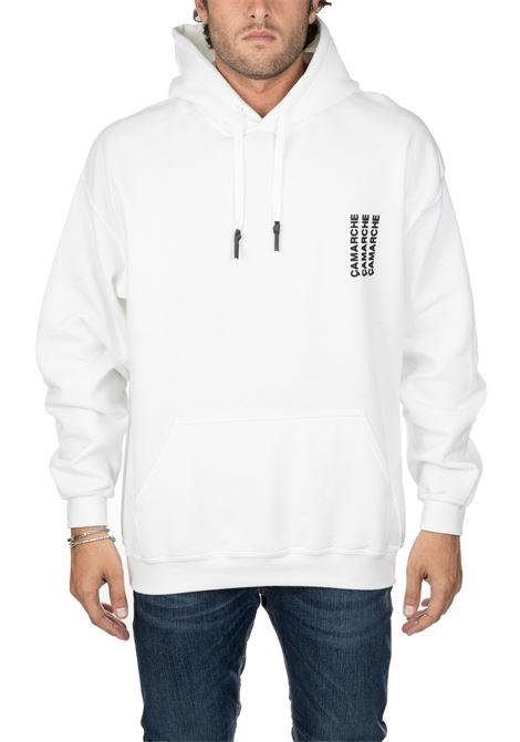 WHITE HOODED SWEATSHIRT WITH FRONT BACK LOGO APPLICATION CAMARCHE | Sweatshirts | CW19UCSS03BR1DY06ABIANCO