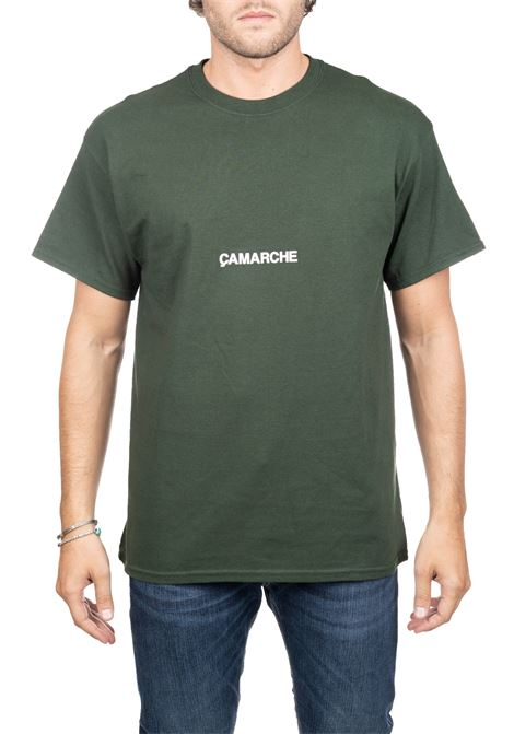 GREEN COTTON T-SHIRT WITH FRONT BACK LOGO APPLICATION CAMARCHE | T-shirt | CW19UCTS04CO1DG04AVERDE