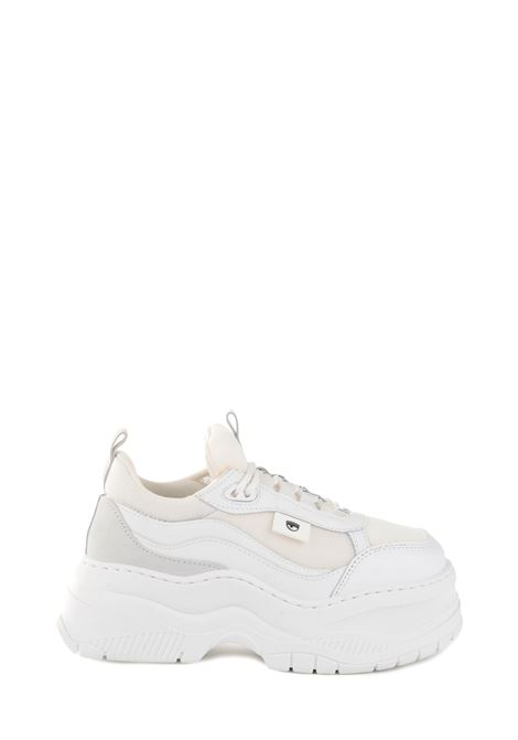 SNEAKER IN LEATHER AND WHITE NYLON WITH STRINGS CHIARA FERRAGNI | Sneakers | CF2538WHITE