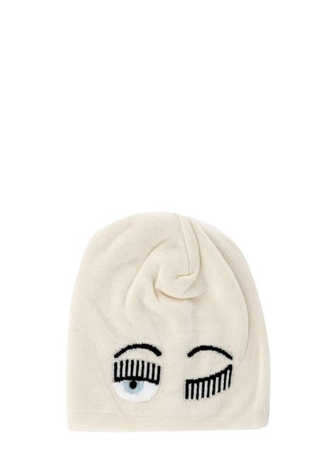 WHITE FLIRTING HAT WITH LOGO CHIARA FERRAGNI | Hats | CFC030BIANCO