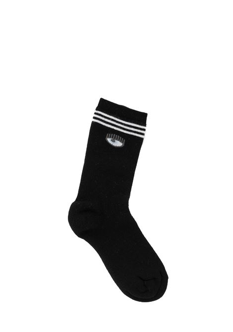 BLACK SOCKS WITH LOGO CHIARA FERRAGNI | Socks | CFCL001NERO