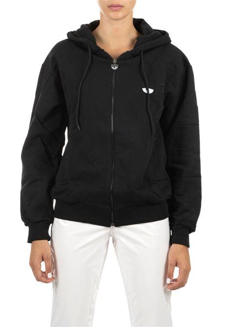 BLACK SWEATSHIRT WITH HOOD WITH FLIRTING LOGO CHIARA FERRAGNI | Sweatshirts | CFF077NERO