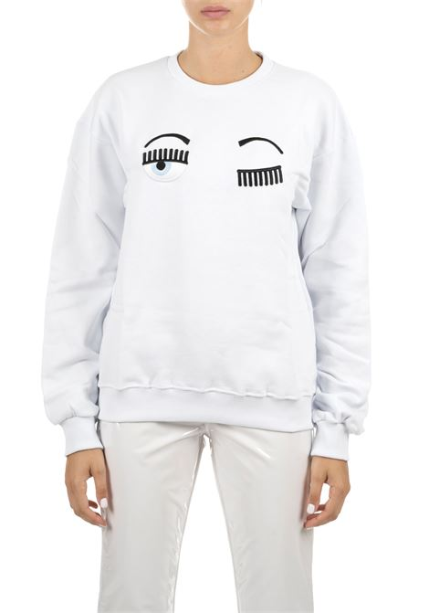 WHITE SWEATSHIRT WITH FLIRTING LOGO CHIARA FERRAGNI | Sweatshirts | CFF082BIANCO