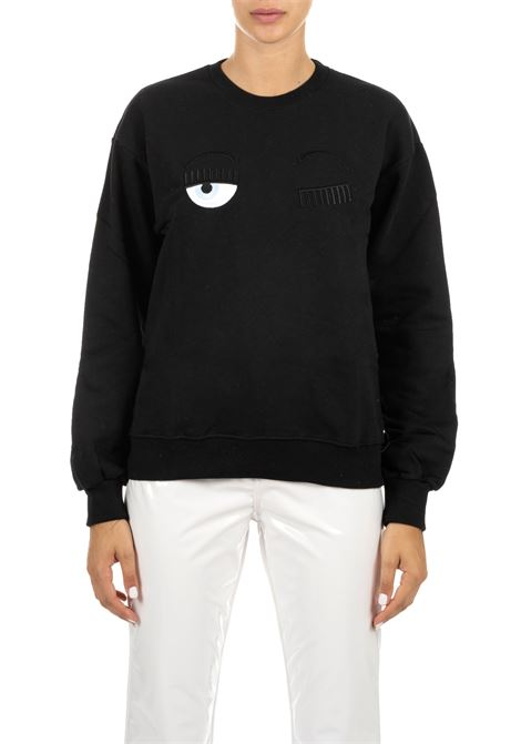 BLACK SWEATSHIRT WITH FLIRTING LOGO CHIARA FERRAGNI | Sweatshirts | CFF082NERO