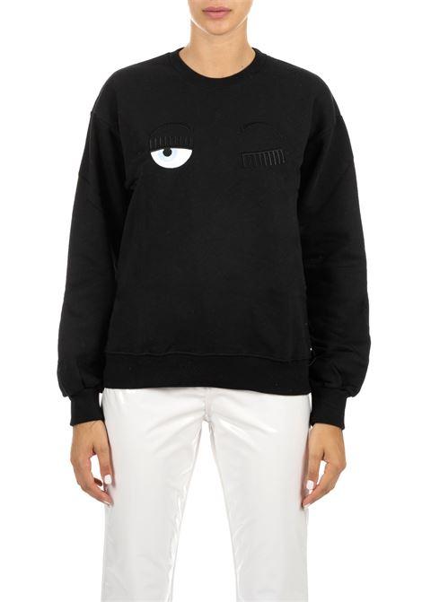 BLACK SWEATSHIRT WITH FLIRTING LOGO CHIARA FERRAGNI | Sweatshirts | CFF082NERO