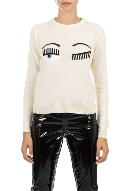 WHITE SWEATER IN FINE MERINOS CHIARA FERRAGNI | Sweaters | CFJM018BIANCO