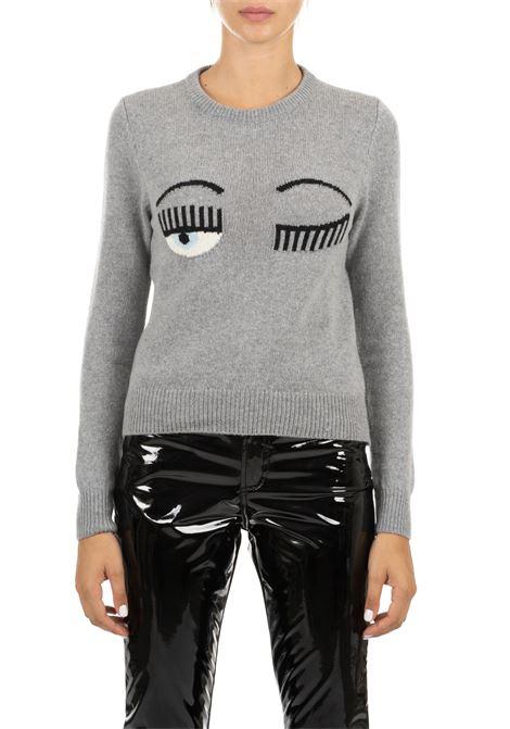 GRAY SWEATER IN FINE MERINOS CHIARA FERRAGNI | Sweaters | CFJM018GRIGIO