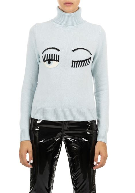 BLUE  COLLAR IN HIGH NECK IN FINE MERINOS CHIARA FERRAGNI | Sweaters | CFJM019CELESTE