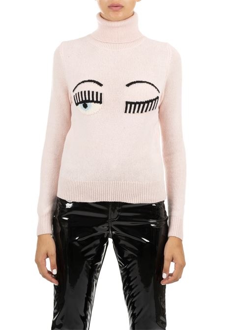 PINK COLLAR IN HIGH NECK IN FINE MERINOS CHIARA FERRAGNI | Sweaters | CFJM019ROSA
