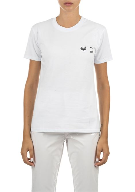 WHITE T-SHIRT WITH EMBROIDERED LOGO CHIARA FERRAGNI | T-shirt | CFT010BIANCO