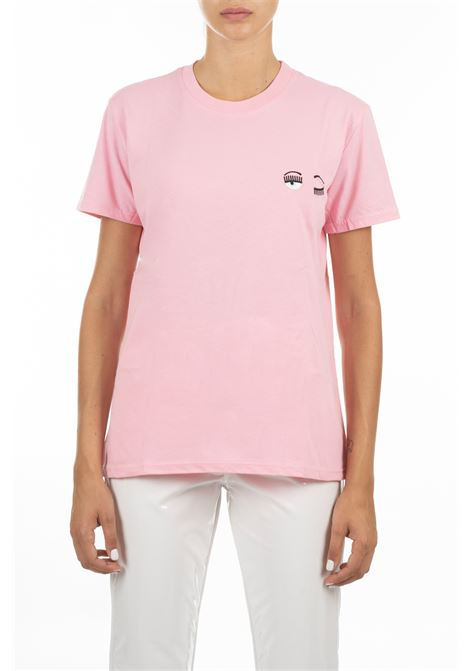 PINK T-SHIRT WITH EMBROIDERED LOGO CHIARA FERRAGNI | T-shirt | CFT010ROSA