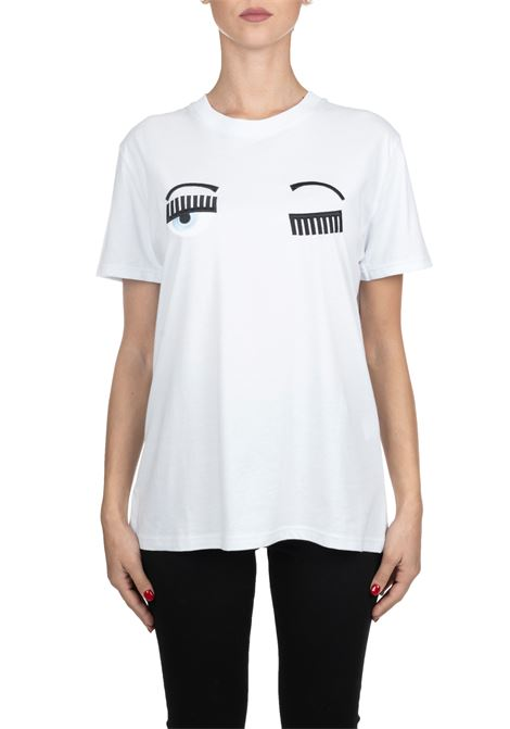 WHITE COTTON T-SHIRT FLIRTING MODEL CHIARA FERRAGNI | T-shirt | CFT057BIANCO
