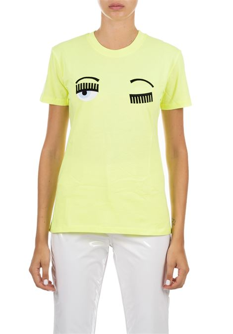 YELLOW FLUO T-SHIRT IN COTTON CHIARA FERRAGNI | T-shirt | CFT057GIALLO