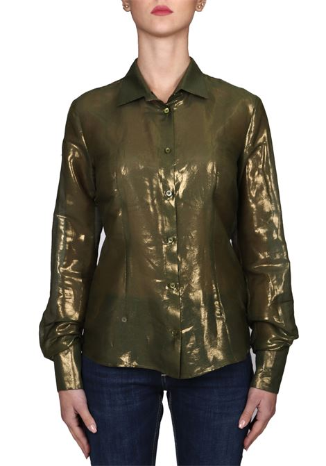 GREEN SHIRT IN SILK AND LAMINATED COTTON CO.GO | Shirts | IC0207CS004ABETE74