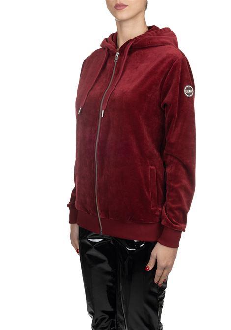 BORDEAUX VELVET SWEATER WITH SLEEVE LOGO APPLICATION COLMAR | Sweatshirts | 9031SHUI6ST416