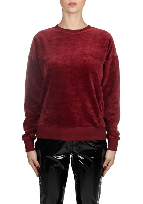 BORDEAUX VELVET SWEATER WITH SLEEVE LOGO APPLICATION COLMAR | Sweatshirts | 9035SHUI6ST416