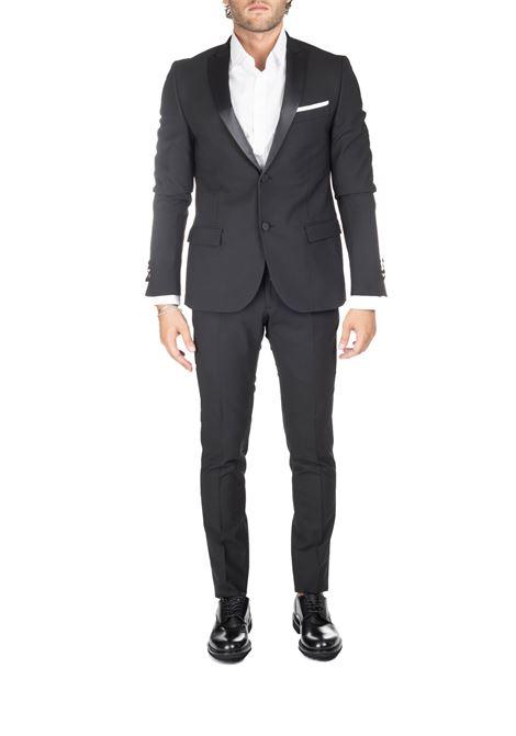 BLACK WOOL AND SATIN DRESS DANIELE ALESSANDRINI | Dress | A047N91039061