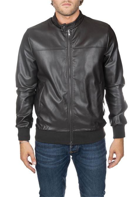 BLACK LEATHER JACKET ONE DANIELE ALESSANDRINI   Jackets   I801139071
