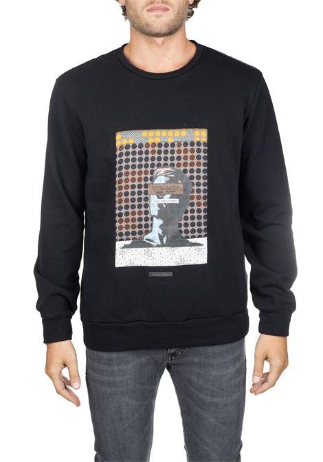 BLACK COTTON SWEATER WITH FRONT PRINT DANIELE ALESSANDRINI | Sweatshirts | M7105E61739061