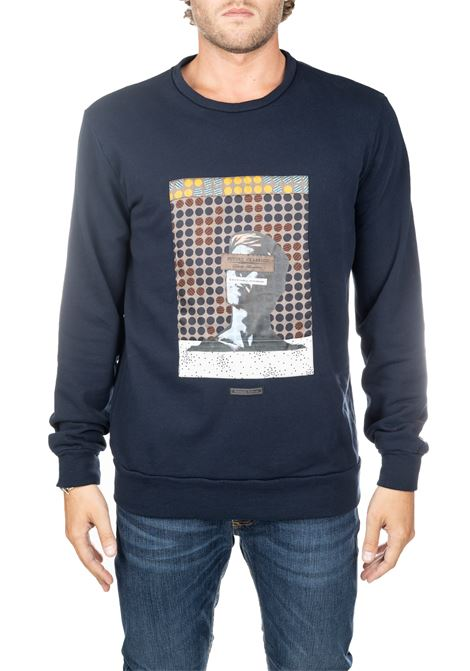 BLUE COTTON SWEATER WITH FRONT PRINT DANIELE ALESSANDRINI | Sweatshirts | M7105E617390623