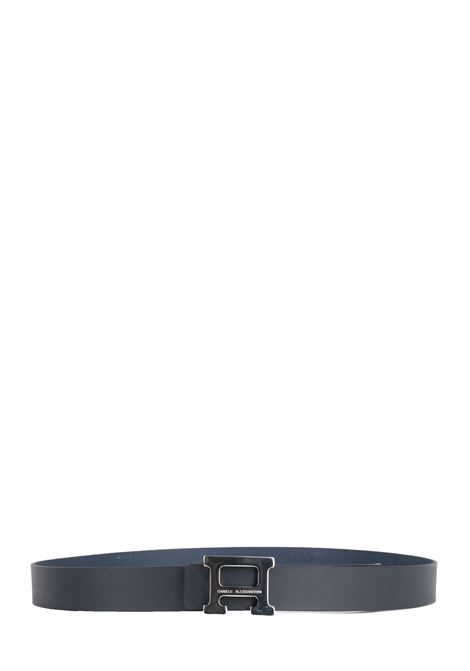 BLUE LEATHER BELT WITH FRONT LOGO DANIELE ALESSANDRINI | Belts | NL6216390623